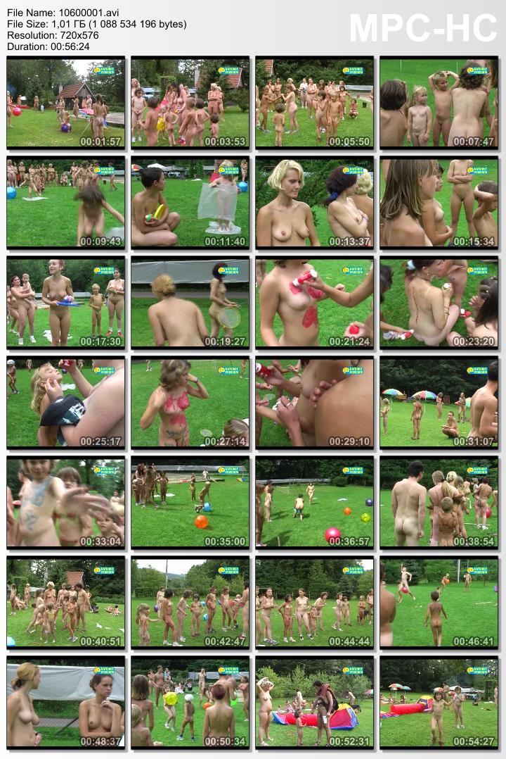 Funny games of nudist families outdoor - Childrens afternoon [Video]