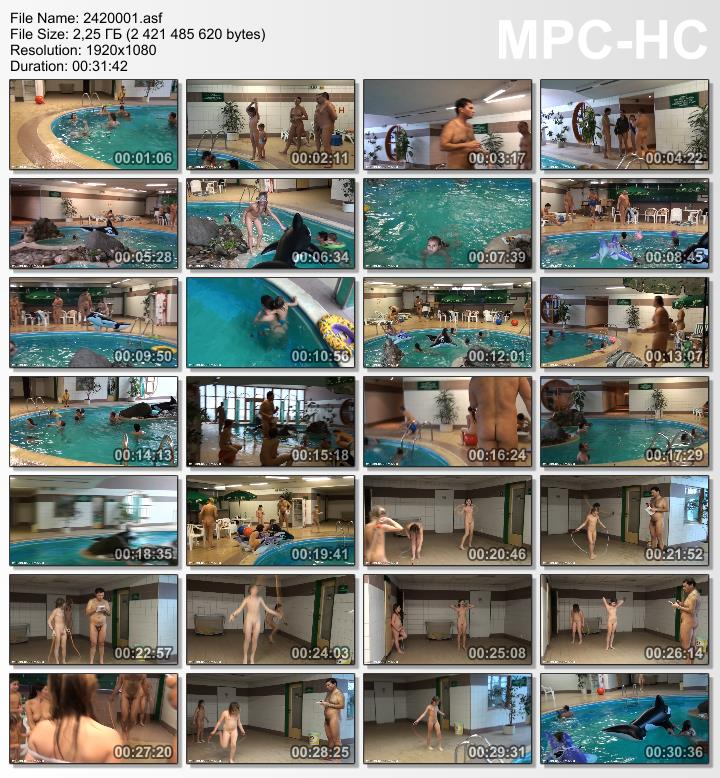Families naturists in pool - Pure nudism video [Kids Indoor Dolphin Ride]