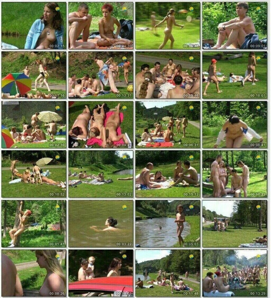 Picnic of Czech family nudists on the shore of the lake